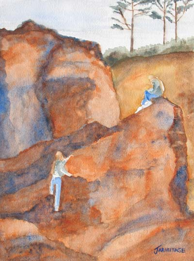 Sisters on the Rocks II (9 x 12) $50
