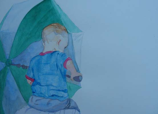 Boy with Umbrella (in progress)