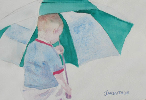 Boy with Umbrella III (5 x 7) SOLD