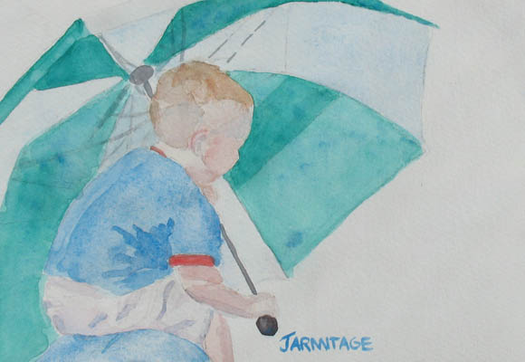Boy with Umbrella I (5 x 7) $20.00