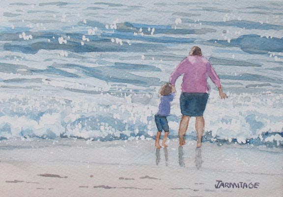 Mommy and the Waves (5 x 7) SOLD