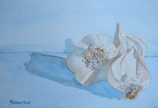 Garlic on Blue (7 x 10)  $35.00