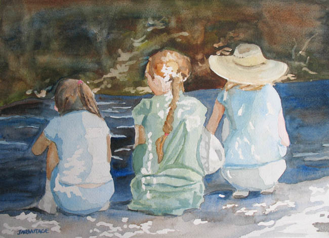 Cousins at the Brook (10 x 14) private collection