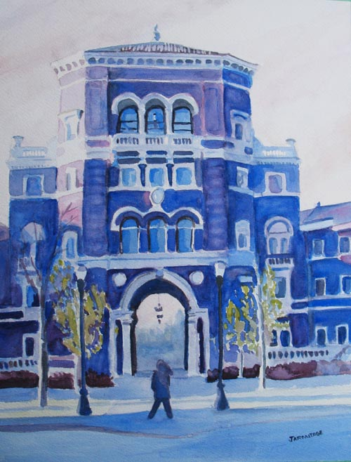 Winter Morning on Campus (11 x 14) $150