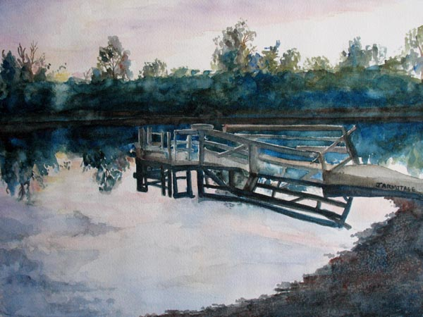 Sundown on the Broken Dock (12 x 16) $150