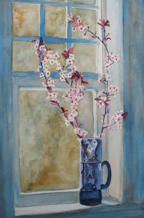 Cherry Blossoms in a Blue Pitcher