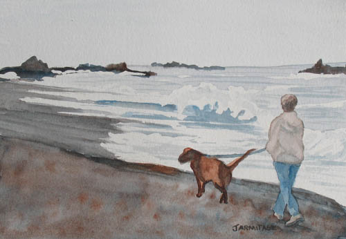 Walking Her Dog on the Beach