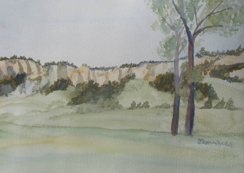 Watercolor Sketch of Bluffs to the north of Fort Robinson, Nebraska