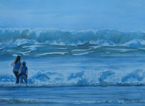 Women at Lincoln City Beach by watercolorist Jenny Armitage