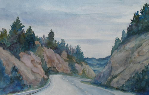 Watercolor Painting of the Decent into Butte, Montana