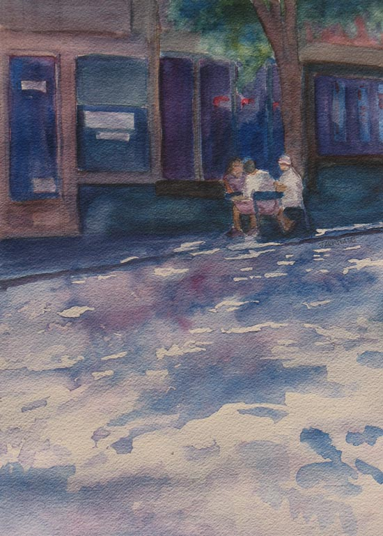 Painting of a Shady Street By Jenny Armitage