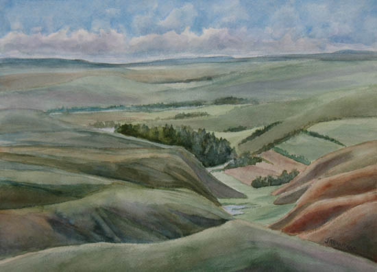 The Corrougated Plain, a watercolor of Montana by Jenny Armitage.