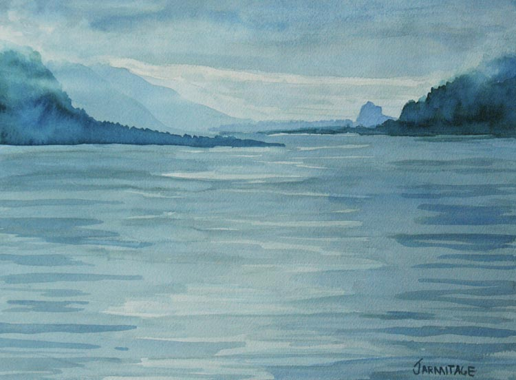 Foggy Morning on the Columbia River (paper) Painting by Jenny Armitage
