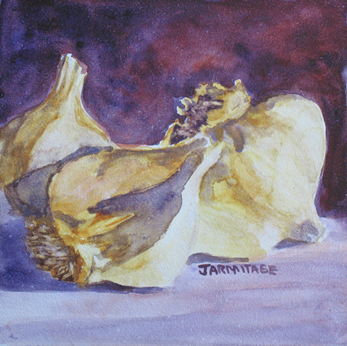 Little Garlic II: a paining in purples and yellows by Jenny Armitage