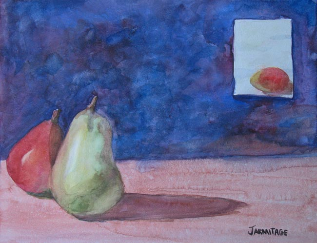 Still Life watercolor of magos and pears by Jenny Armitage