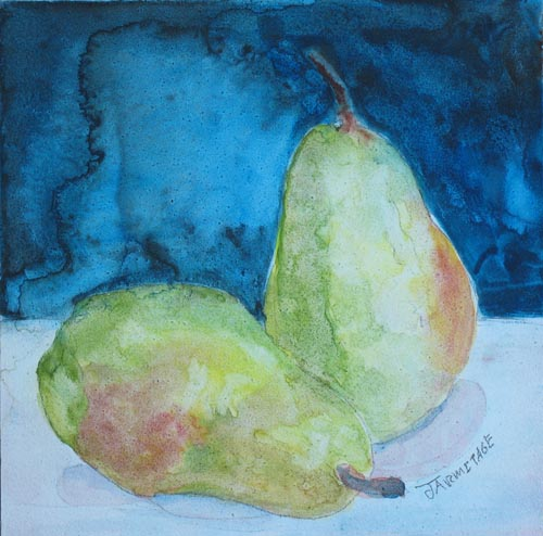 Blushing Pears a Watercolor by Jenny Armitage