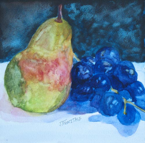 Painting of Pear and Grapes by Jenny Armitage