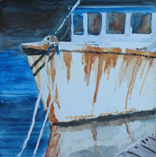 Original Watercolor Painting of a Fishing Boat by Jenny Armitage