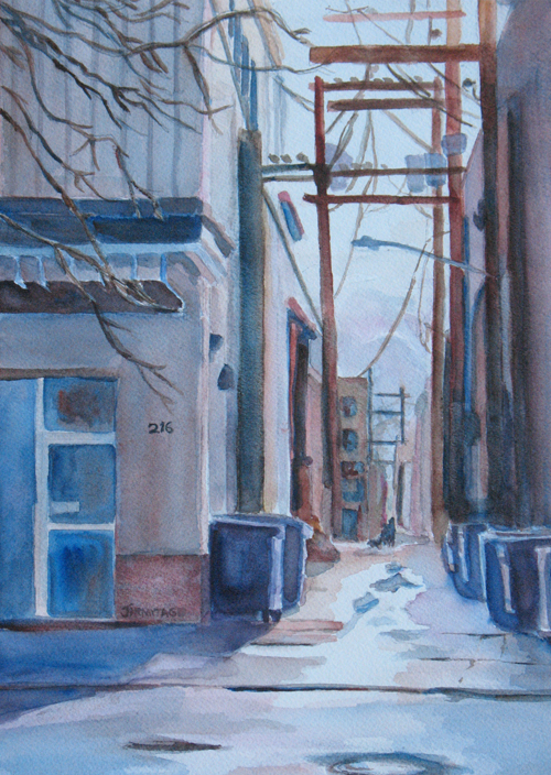 216, Painting of a Small Town Alley, by Jenny Armitage