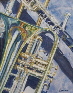 Brass Winds and Shadow, Watercolor by Jenny Armitage