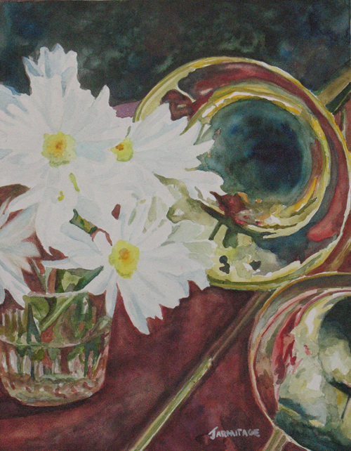 Daisies, Bold as Brass, Painting by Watercolorist Jenny Armitage