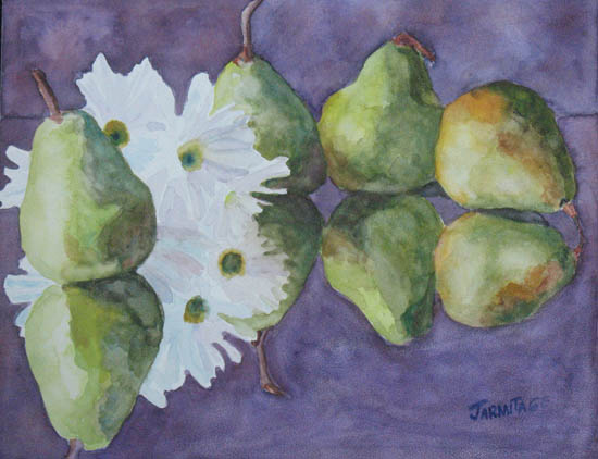 Dances With Pears, a Watercolor Painting by Jenny Armitage