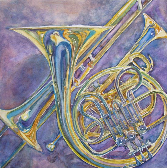 """Three Horns"" (watercolor on canvas 16 x 16 inches) $400"
