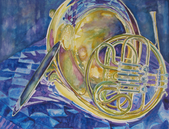 """Quilted Brass"" Painting of Brass Instruments by Jenny Armitage"
