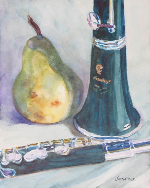 Painting of a Pear, Piccolo, and Clarinet by Jenny Armitage