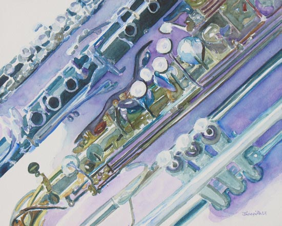 Watercolor Painting of Wind Instrument Keys, by Jenny Armitage