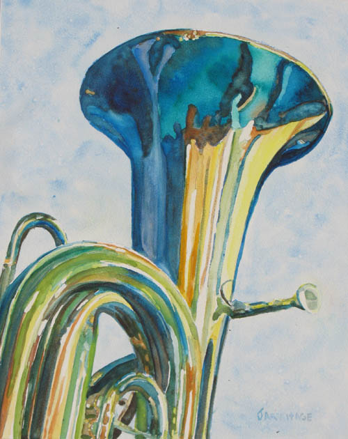 Watercolor Painting of a Tuba, by Jenny Armitage