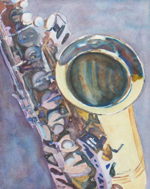 Watercolor Painting of A Saxaphone by Jenny Armitage