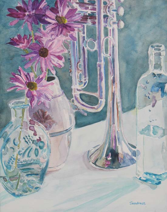 Watercolor Painting of a Trumpet and Depression Glass, by Jenny Armitage