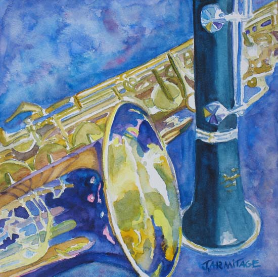 Reeds Between Sets, Painting of a Sax and Clarinet