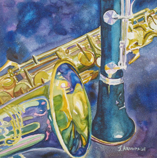 Reeds Between Sets II, Painting of a Saxophone and Clarinet