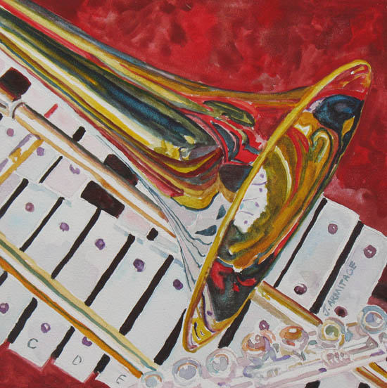 Ringing in the Brass, Painting of a Trombone by Jenny Armitage