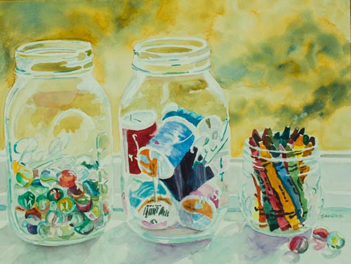Craft Room Pickles, mason jar painting by Jenny Armitage