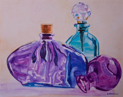 Bottles and Stoppers, Painting of Bottles by Jenny Armitage