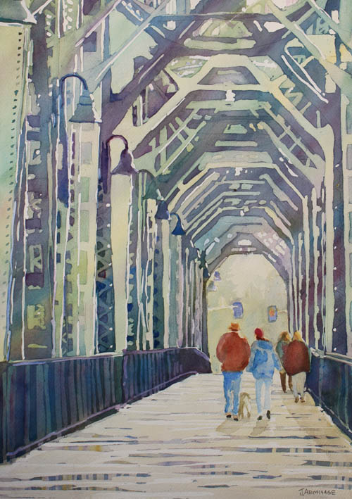 Foggy Morning on the Railway Bridge, a Watercolor Painting by Jenny Armitage