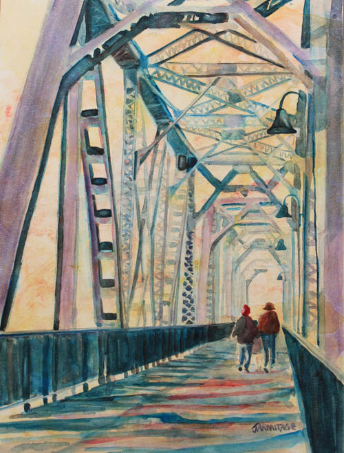 Foggy Morning on the Railway Bridge III Painting by Jenny Armitage