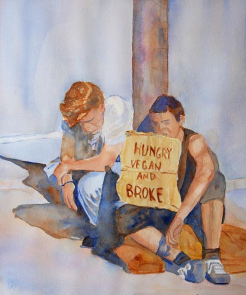 Hungry Vegan and Broke, painting by Jenny Armitage