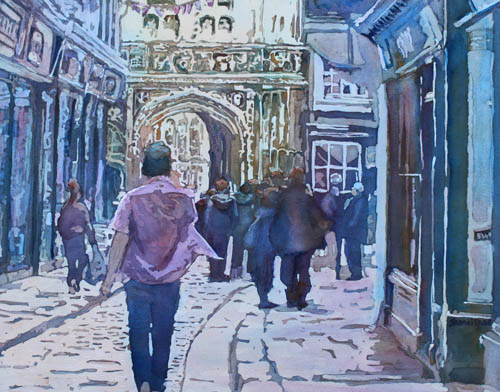 """Pilgrims at the Gate"" a watercolor of Canterbury by Jenny Armitage"