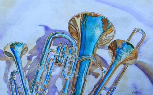 Brass Candy Trio, Painting of Brass by Jenny Armitage