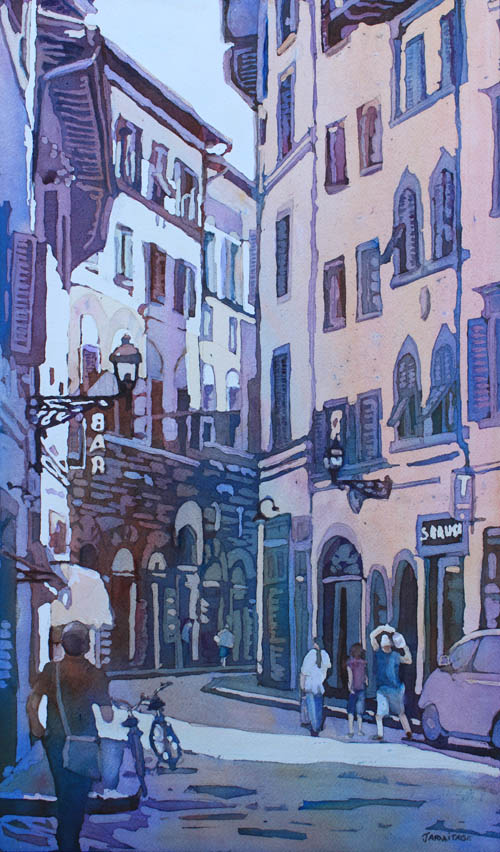 July in Florence, Painting of Old Florence by Jenny Armitage