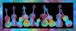 Rainbow Violins, painting by Jenny Armitage
