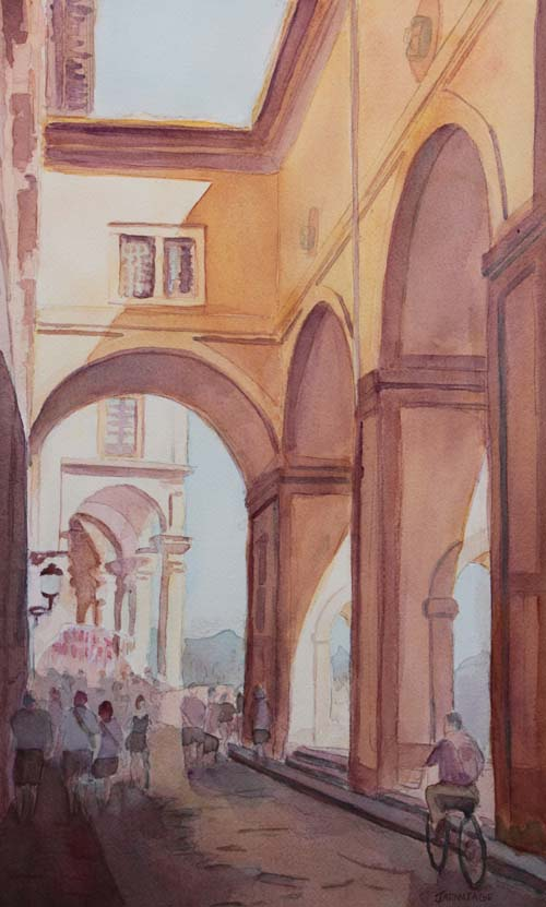 Florence Arcade, watercolor painting of Italy by Jenny Armitage