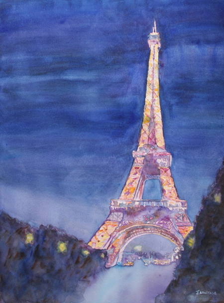 Eiffel Tower a watercolor painting by Jenny Armitage