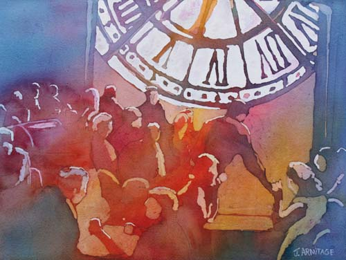 Clock Cafe, Watercolor of a  Paris Cafe by Jenny Armitage