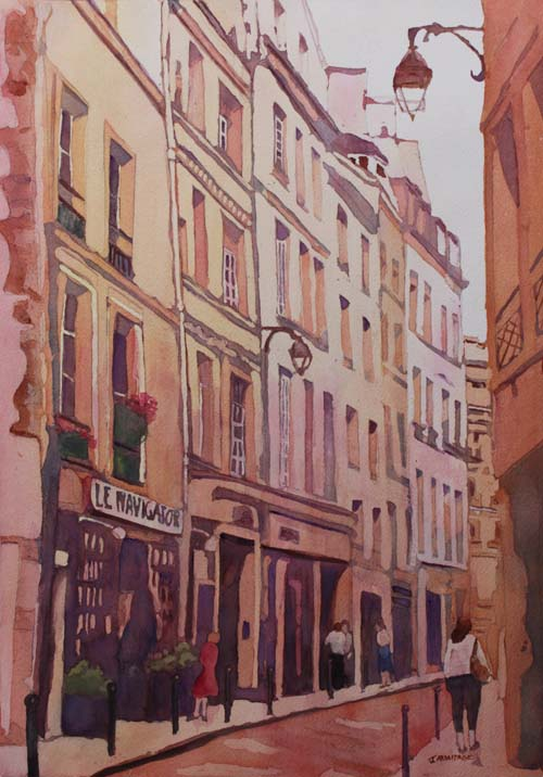 Rue Galande, Watercolor of Paris by Jenny Armitage