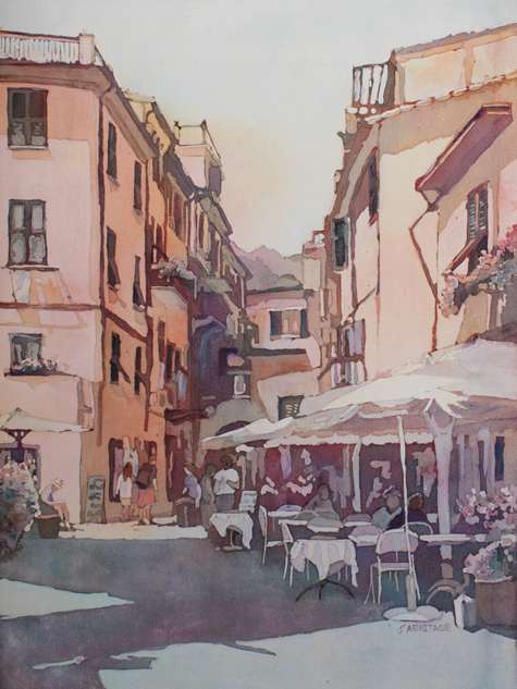 Monterosso Cafe, Original Painting of the Cinque Terre, by Jenny Armitage